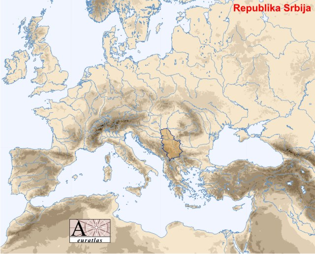 map of serbia europe. Map showing Serbia in Europe