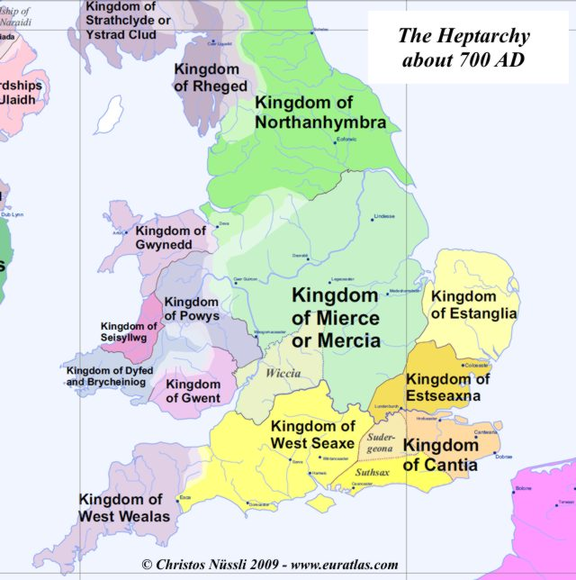 Map Of England 700ad.Britain S Heptarchy In 700 Ad