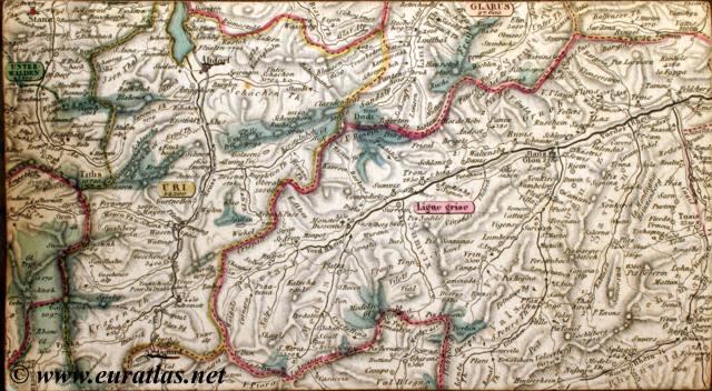 carte routi re de la suisse road map of switzerland keller 1836 saint gothard. Black Bedroom Furniture Sets. Home Design Ideas