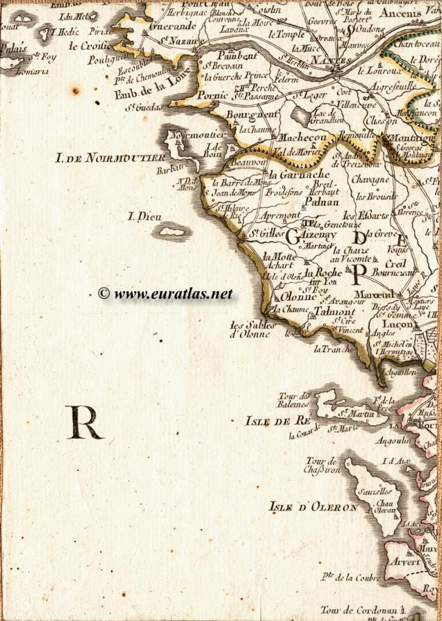 Carte de la région de la loire avec les villes de nantes saint
