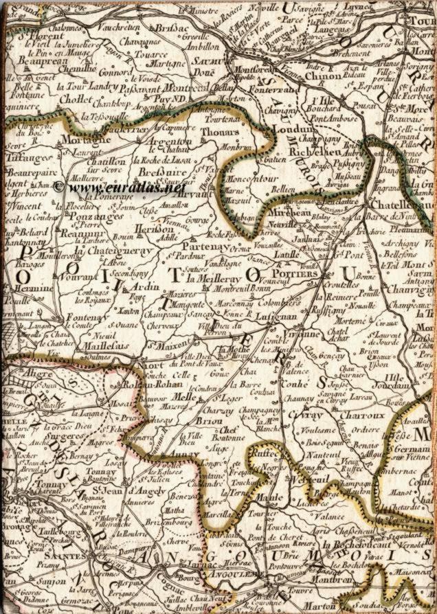 Carte itinéraire de la France: Poitiers - Itinerary Map of France: