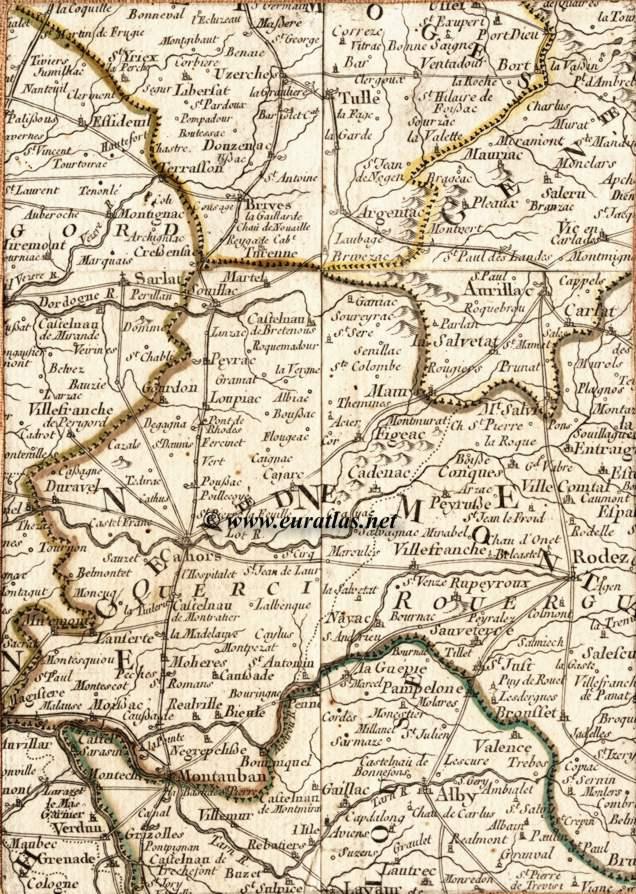 Carte de la région d auvergne ouest avec les villes de montauban albi