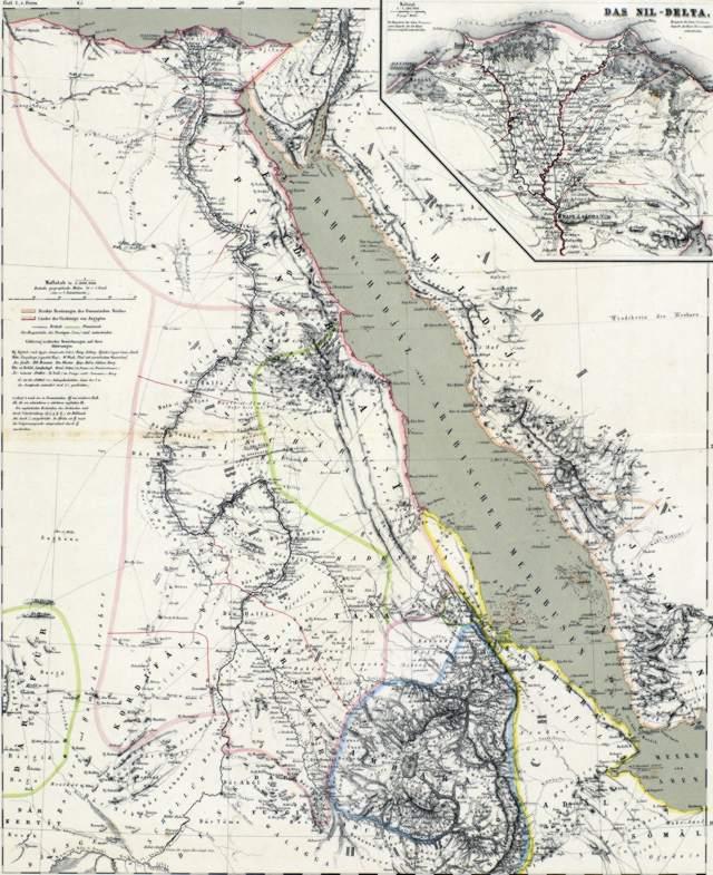 Vue d'ensemble de la carte des pays du nil en afrique, principalement