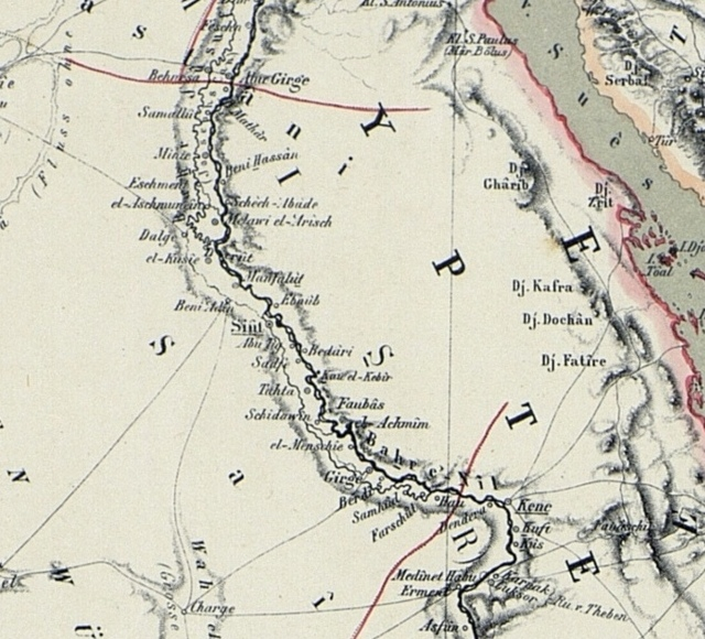 Map of the Nile Lands, 1862: : Middle Egypt