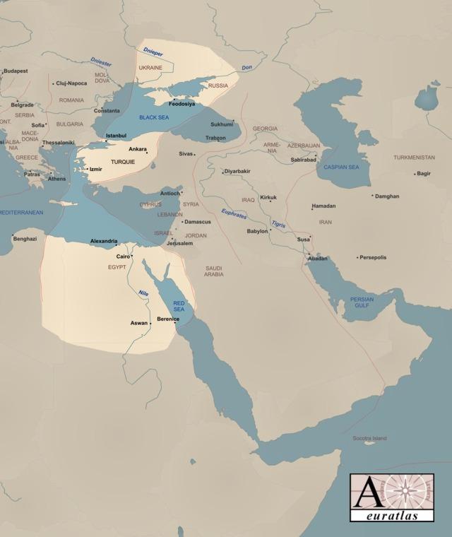 Table superimposed on modern map. Ukraine, Russia, Turkey, Egypt.