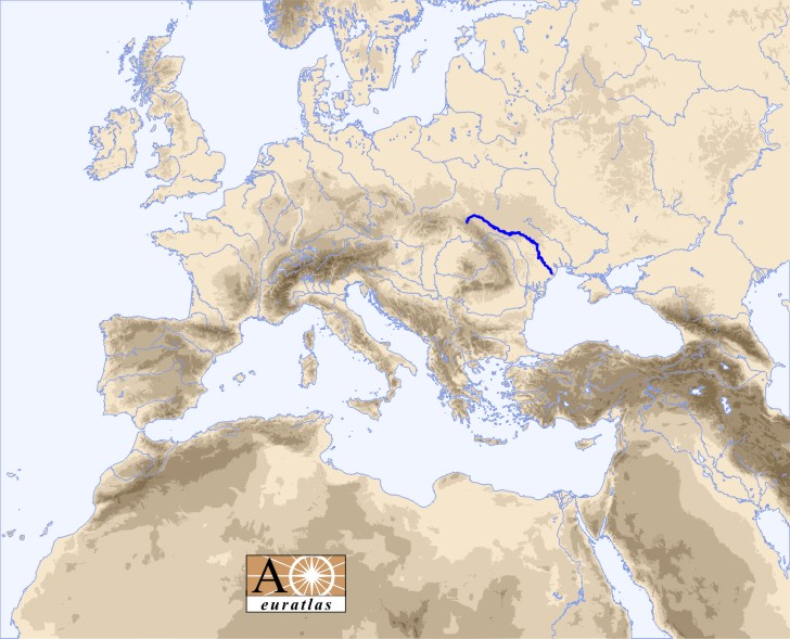 Europe and north africa map showing the location of the dniester