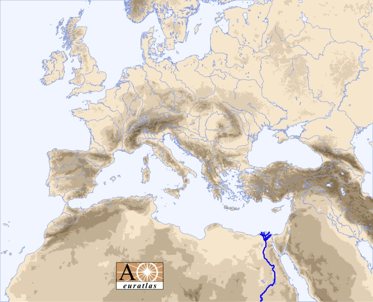 Europe Atlas the Rivers of Europe and Mediterranean Basin Nile