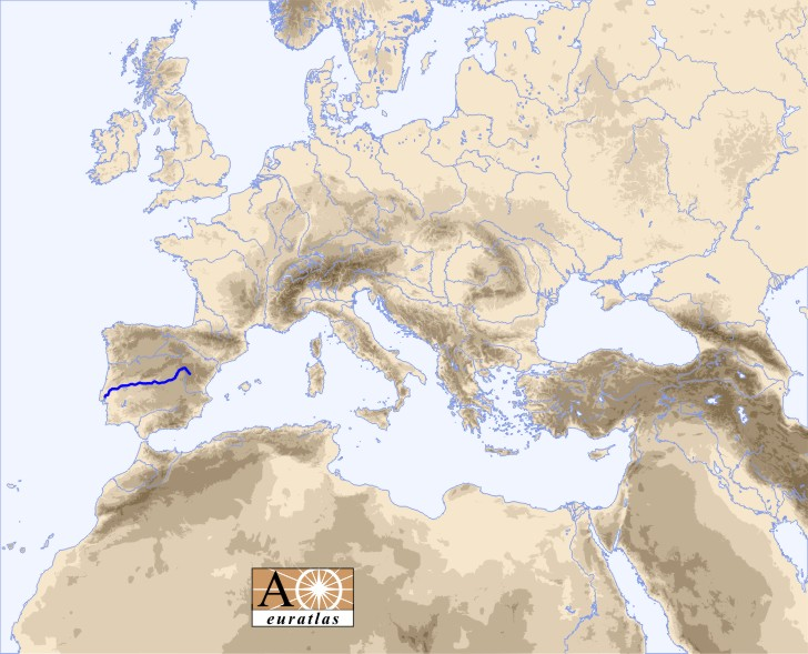 Europe and north africa map showing the location of the tagus