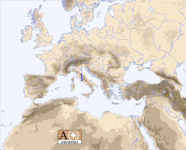 Europe and north africa map showing the location of the tiber