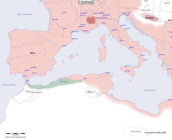 Map showing Europe 1 Southwest