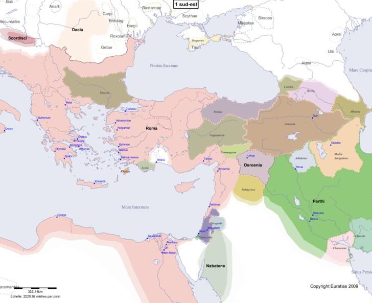 Carte montrant l'Europe en 1 sud-est
