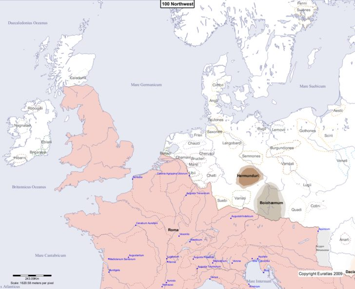 Map showing Europe 100 Northwest