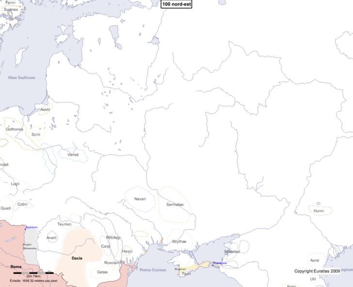 Carte montrant l'Europe en 100 nord-est