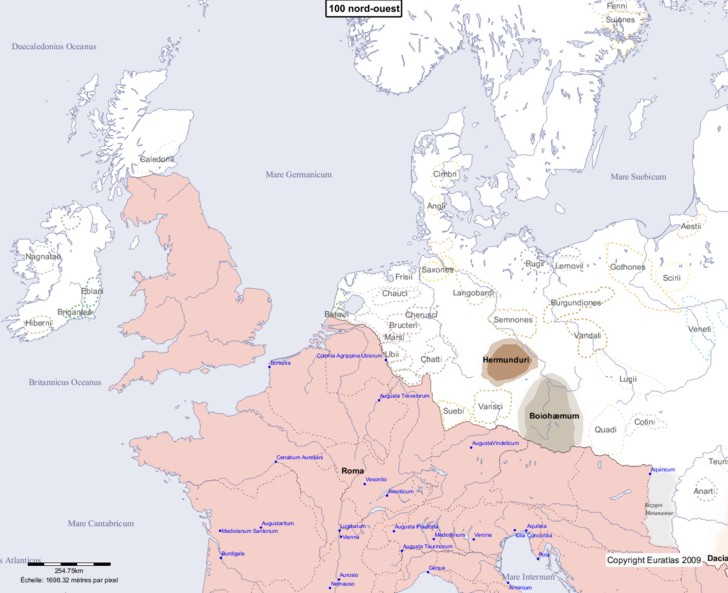 Carte montrant l'Europe en 100 nord-ouest