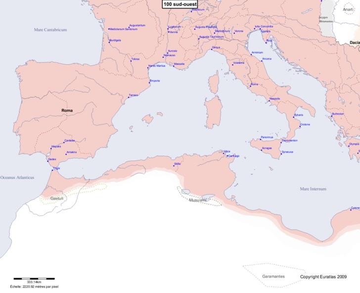 Carte montrant l'Europe en 100 sud-ouest