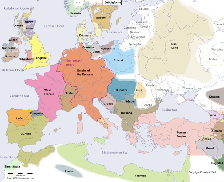 Complete Map of Europe in Year 1000