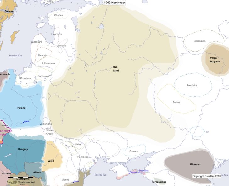 Map showing Europe 1000 Northeast