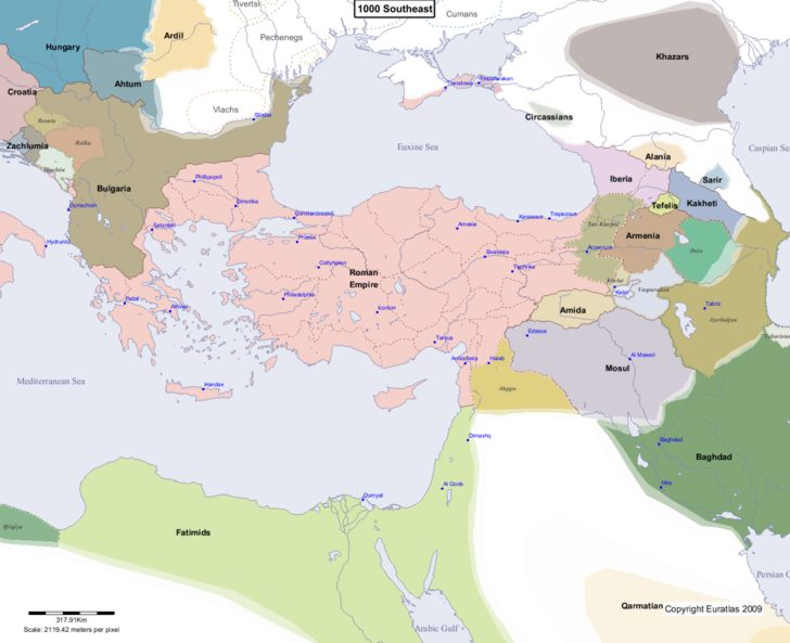 Map showing Europe 1000 Southeast