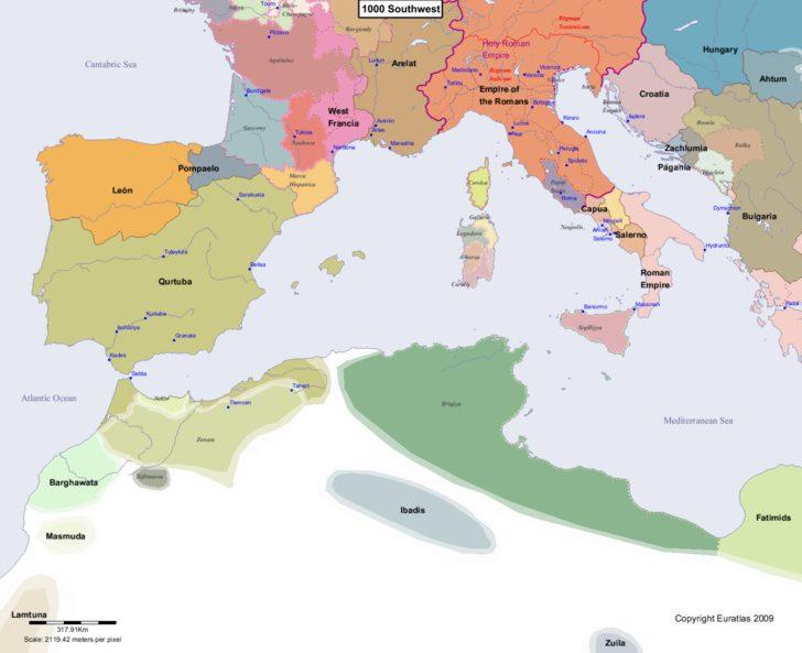 Map showing Europe 1000 Southwest