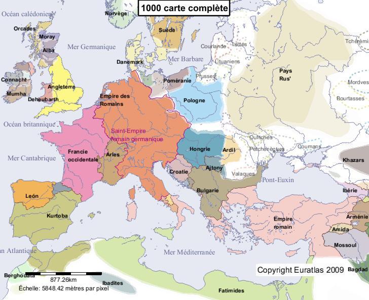 Carte complète de l'Europe en l'an 1000