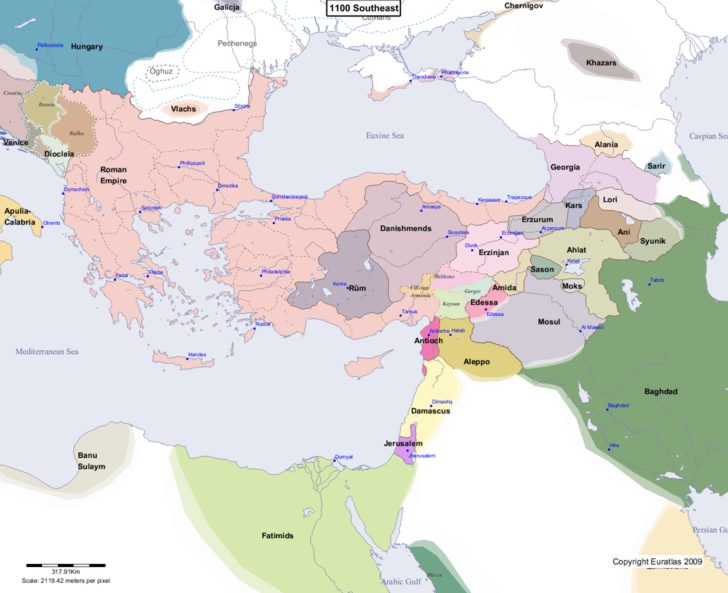 Map showing Europe 1100 Southeast