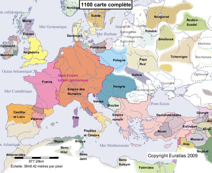 Carte complète de l'Europe en l'an 1100