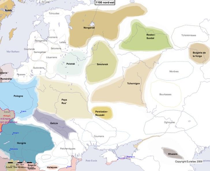 Carte montrant l'Europe en 1100 nord-est