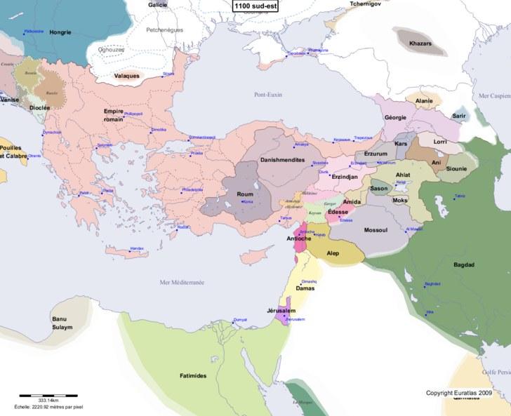 Carte montrant l'Europe en 1100 sud-est