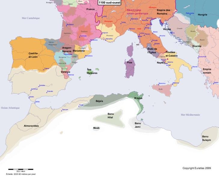Carte montrant l'Europe en 1100 sud-ouest