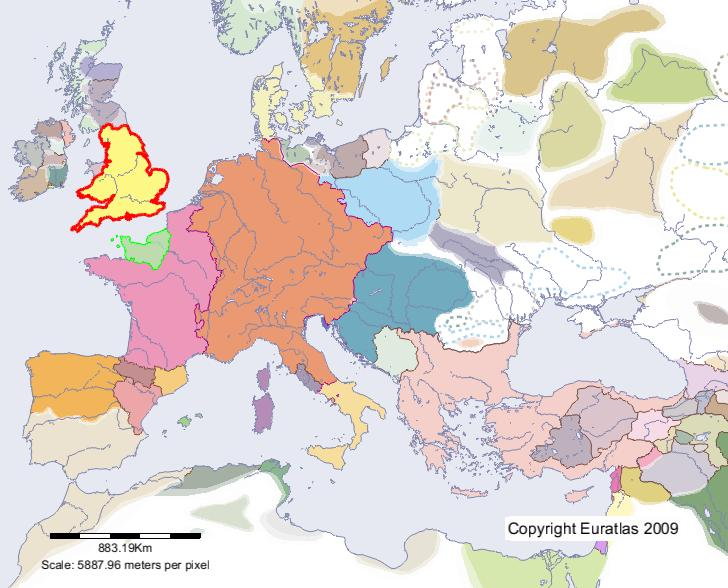Euratlas Periodis Web Map of England in Year 1100 – England on Map of Europe