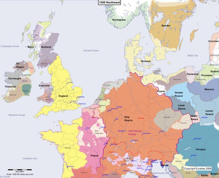 Map showing Europe 1200 Northwest
