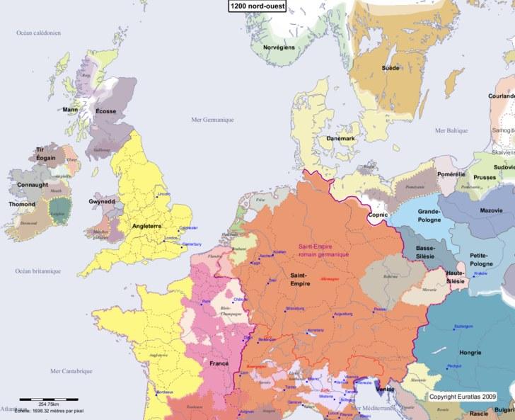 Carte montrant l'Europe en 1200 nord-ouest