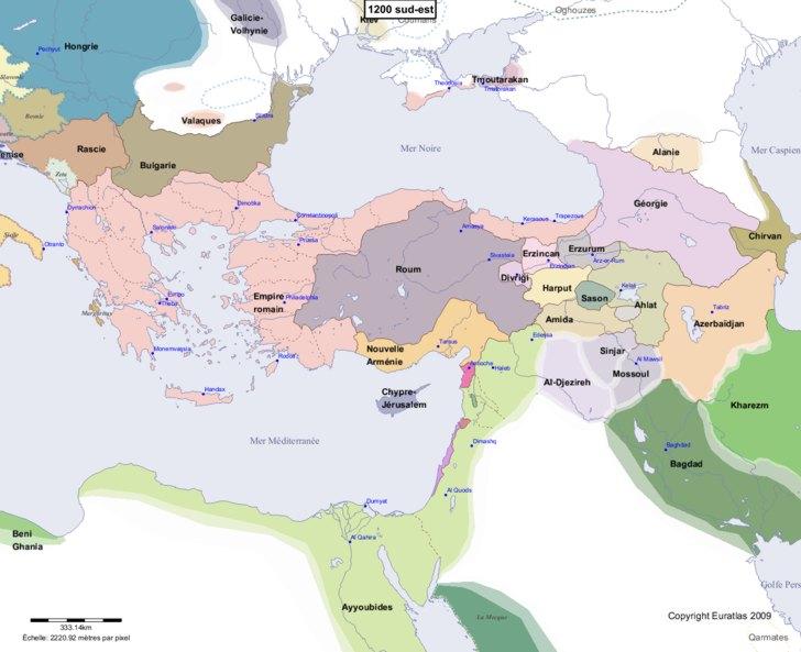 Carte montrant l'Europe en 1200 sud-est