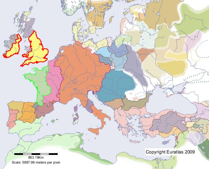 Euratlas Periodis Web Map of England in Year 1200 – England on Map of Europe
