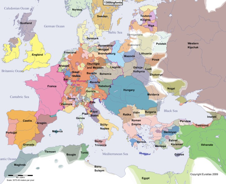 Complete Map of Europe in Year 1300