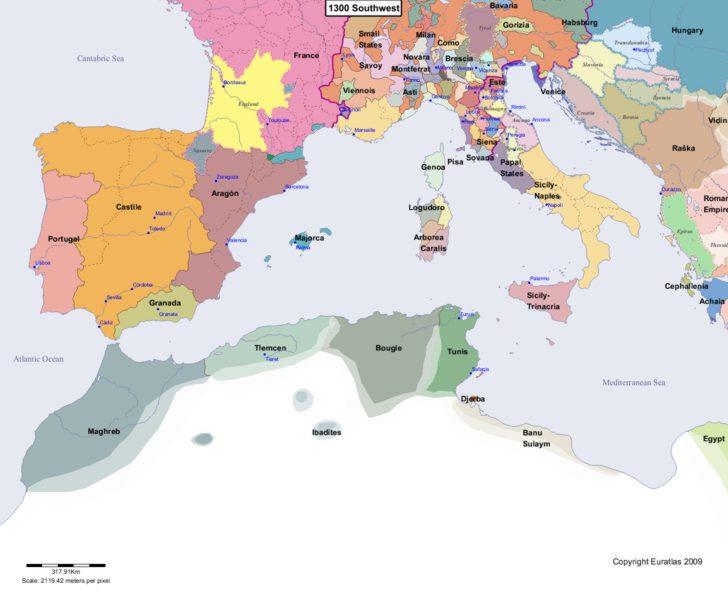 Map showing Europe 1300 Southwest