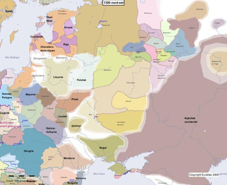 Carte montrant l'Europe en 1300 nord-est