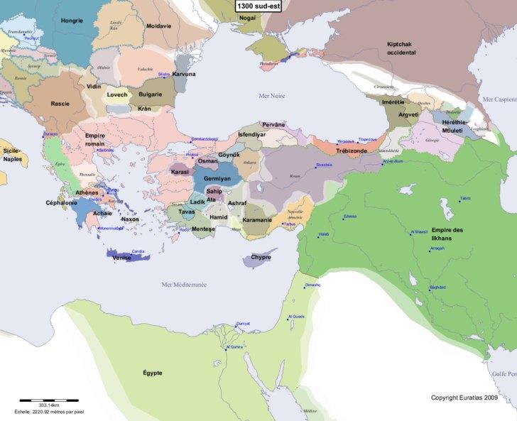 Carte montrant l'Europe en 1300 sud-est