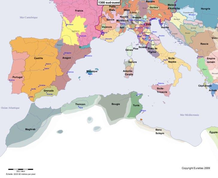 Carte montrant l'Europe en 1300 sud-ouest