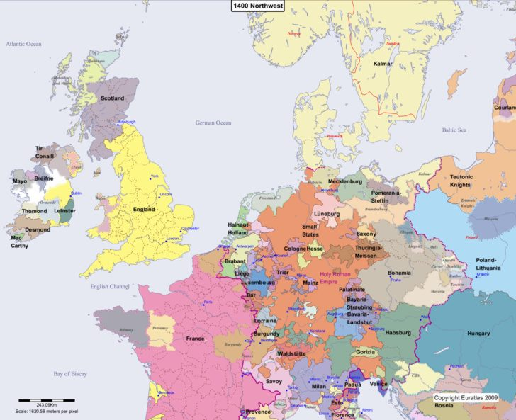 Map showing Europe 1400 Northwest