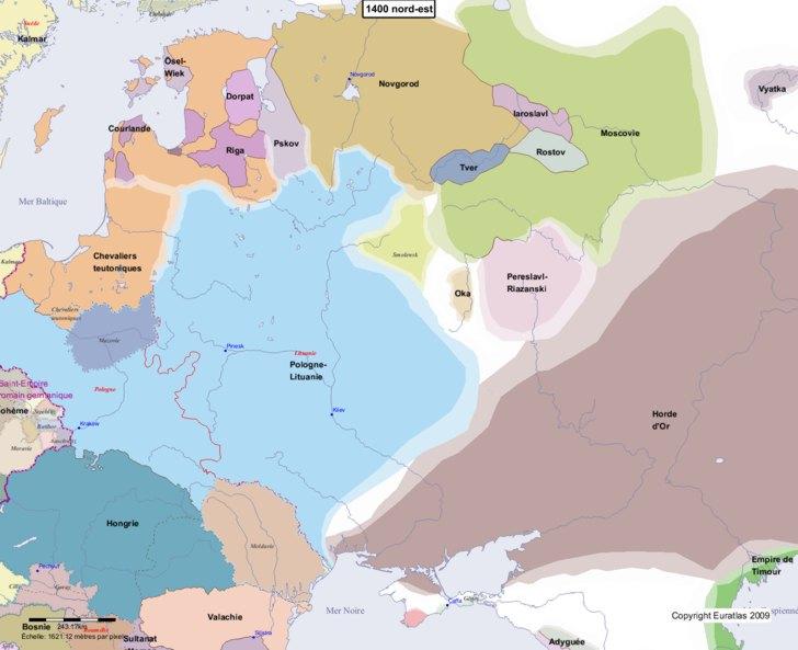 Carte montrant l'Europe en 1400 nord-est