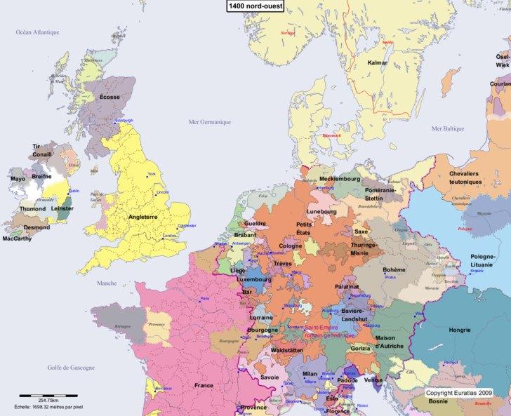 Carte montrant l'Europe en 1400 nord-ouest