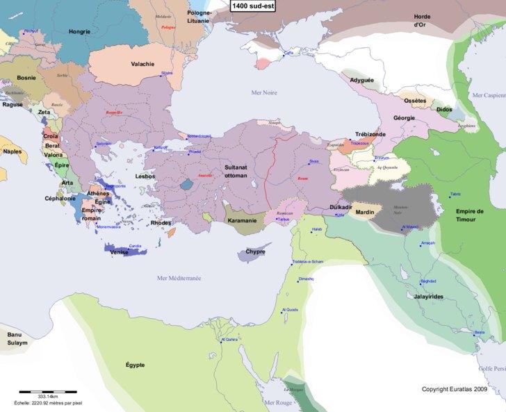 Carte montrant l'Europe en 1400 sud-est