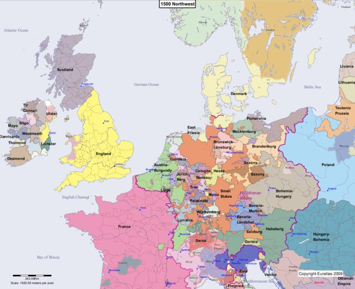 Map showing Europe 1500 Northwest