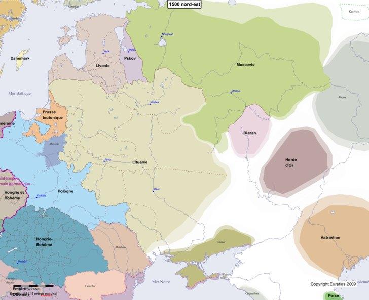 Carte montrant l'Europe en 1500 nord-est