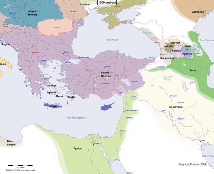 Carte montrant l'Europe en 1500 sud-est