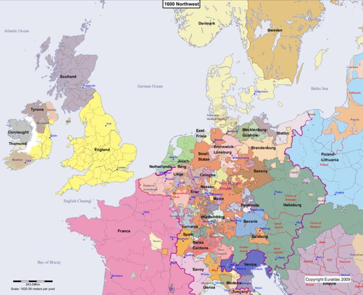 Map showing Europe 1600 Northwest