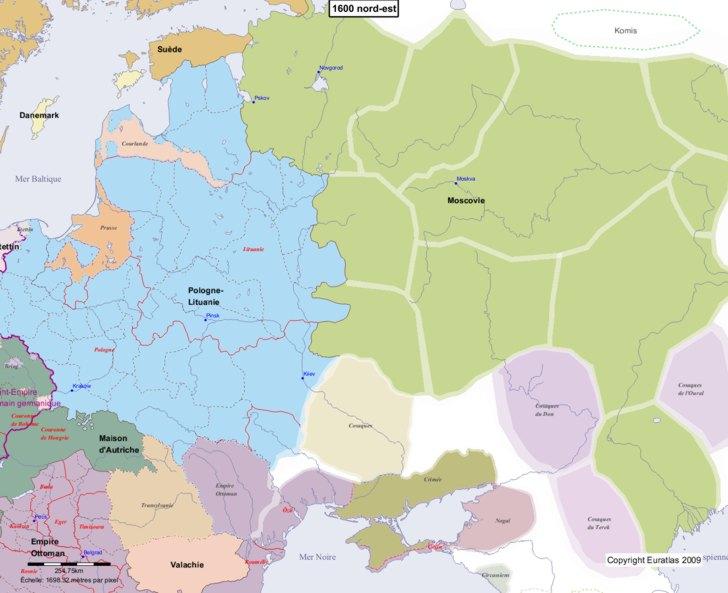 Carte montrant l'Europe en 1600 nord-est