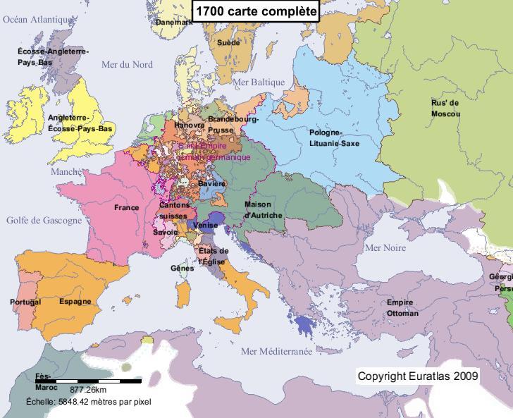 Carte complète de l'Europe en l'an 1700