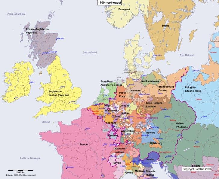 Carte montrant l'Europe en 1700 nord-ouest